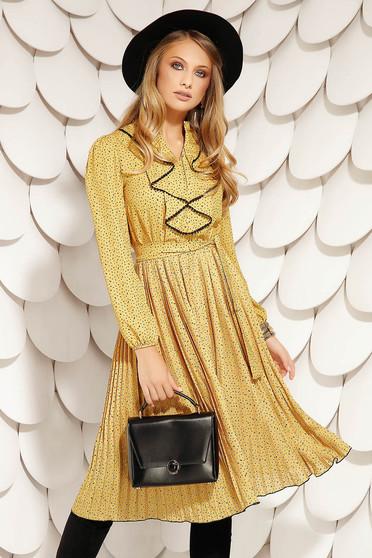 Mustársárga ruha elegáns midi harang muszlinból eltávolítható övvel gumírozott derekú rakott, pliszírozott fodros