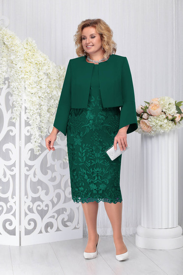 Sötétzöld elegáns két részes női kosztüm ruhával enyhén rugalmas szövetből csipkéből