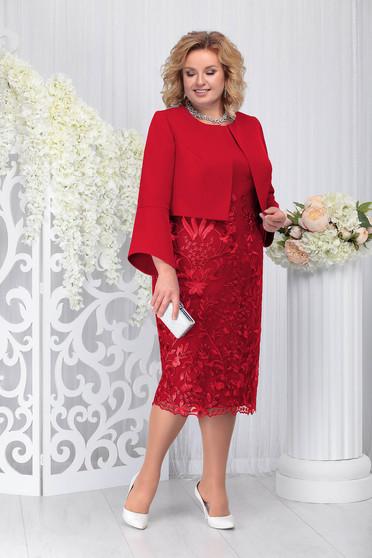 Piros elegáns két részes női kosztüm ruhával enyhén rugalmas szövetből csipkéből