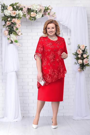 Piros elegáns két részes női kosztüm