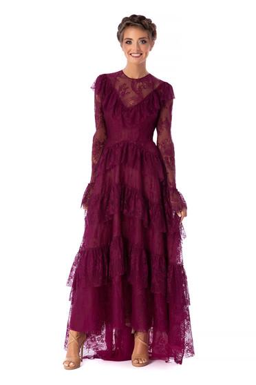 Málnapiros Ana Radu luxus hosszú harang ruha csipkés anyagból fodros hosszú bővülő ujjakkal