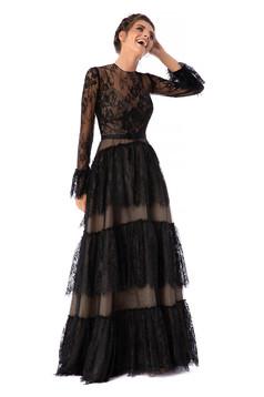 Fekete Ana Radu luxus hosszú harang ruha hosszú bővülő ujjakkal csipkés anyagból eltávolítható övvel