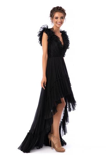 Fekete Ana Radu luxus ujjatlan aszimetrikus fodros harang ruha mély v-dekoltázzsal