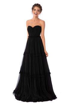 Fekete Ana Radu fűzős luxus fodros hosszú harang ruha szellős anyagból