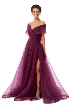 Málnapiros Ana Radu luxus hosszú harang ruha béléssel