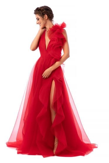 Piros Ana Radu alkalmi ruha v-dekoltázzsal deréktól bővülő szabású tüllből