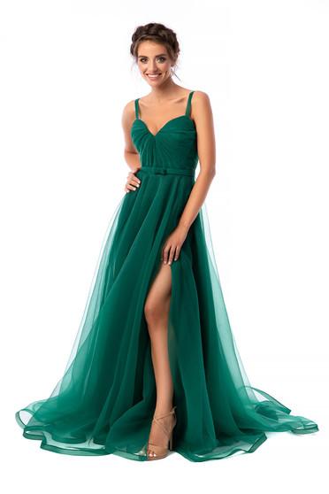 Zöld Ana Radu alkalmi ruha deréktól bővülő szabású v-dekoltázzsal tüllből