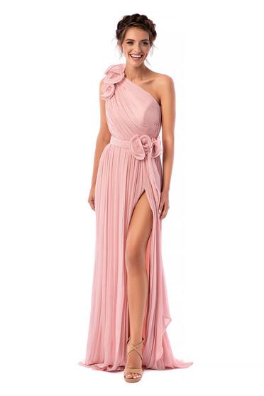 Világos rózsaszínű Ana Radu luxus hosszú harang egy vállas ruha muszlinból béléssel
