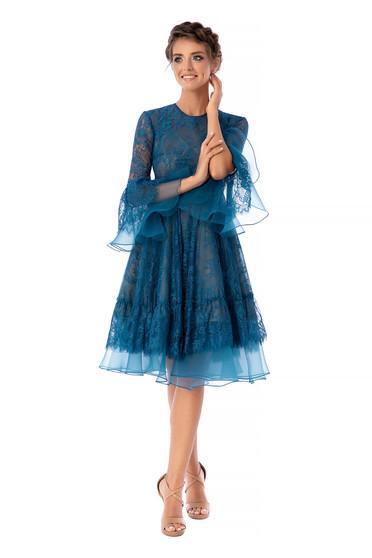 Türkizzöld Ana Radu luxus midi harang ruha csipkés anyagból háromnegyedes bővülő ujjakkal kerekített dekoltázssal eltávolítható övvelvvel