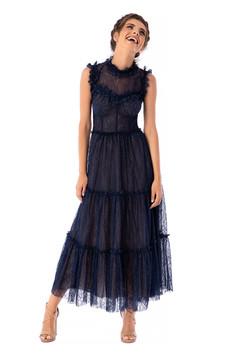 Sötétkék Ana Radu luxus alkalmi magas nyakú midi harang fűzős ujjatlan ruha csipkés anyagból