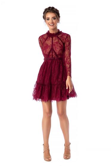 Burgundy Ana Radu luxus harang magas nyakú rövid ruha csipkés anyagból hosszú ujjakkal eltávolítható övvel