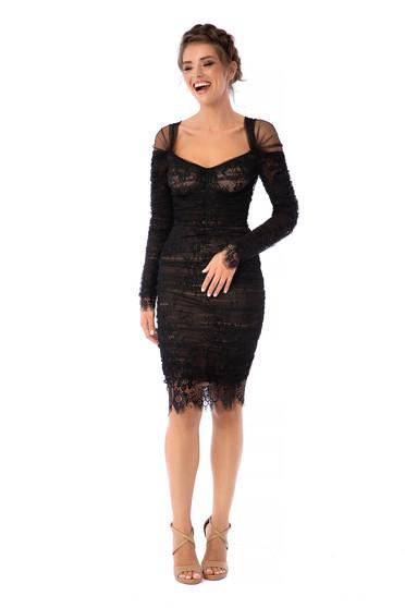 Fekete Ana Radu luxus rövid ceruza ruha csipkés anyagból tüllből hosszú ujjakkal