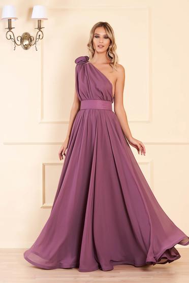 Világos lila Ana Radu harang ruha muszlinból övvel ellátva hosszú egy vállas luxus