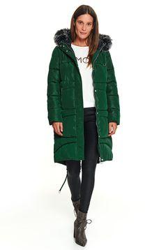 Sötétzöld casual midi kapucnis és zsebes dzseki