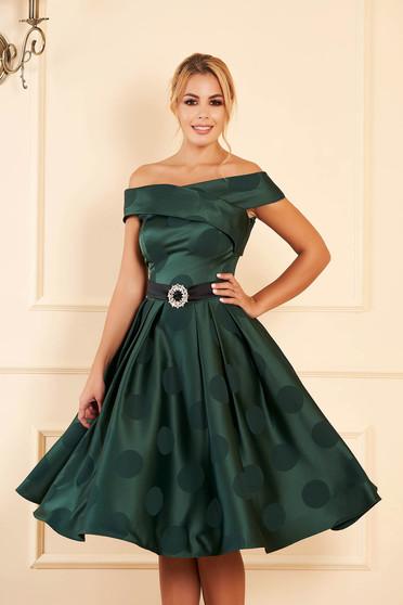 Zöld alkalmi pöttyös midi harang ruha szatén anyagból