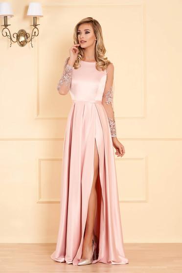 Pink alkalmi deréktól bővülő szabású ruha szaténból csipke ujjakkal
