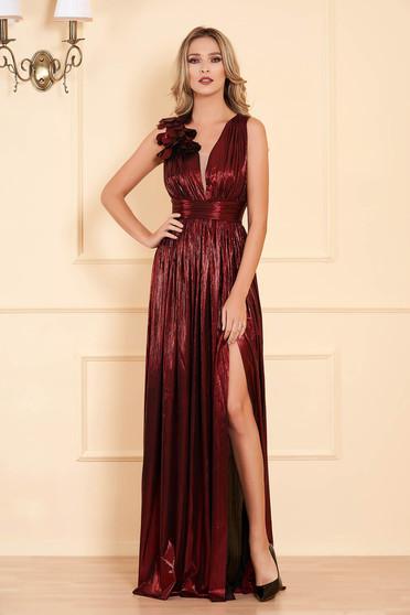 Burgundy alkalmi harang ruha fényes anyag mély dekoltázzsal ujjatlan hosszú