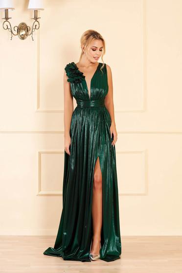 Zöld alkalmi harang ruha fényes anyag mély dekoltázzsal ujjatlan hosszú