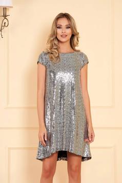 Ezüstszínű StarShinerS alkalmi asszimmetrikus bő szabású ruha flitteres béléssel