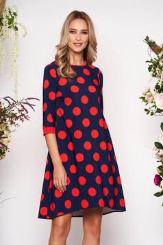 Piros StarShinerS pöttyös hétköznapi bő szabású ruha 3/4-es ujjakkal enyhén rugalmas anyagból
