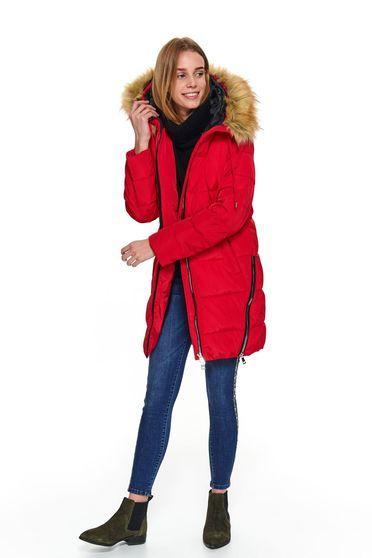 Piros casual midi kapucnis és zsebes vízhatlan dzseki műszőrme díszítéssel