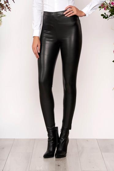 Fekete gumírozott derekú leggings műbőrből