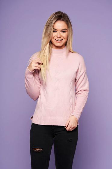 Púder rózsaszínű casual bő szabású pulóver kötött anyagból hosszú ujjakkal