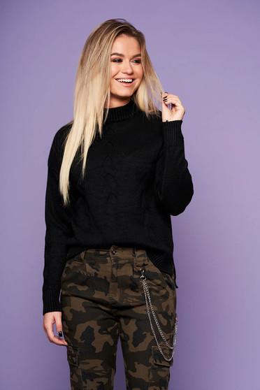 Fekete casual bő szabású pulóver kötött anyagból hosszú ujjakkal