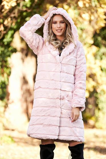 Világos rózsaszínű elegáns zsebes műszőrme szőrme béléssel