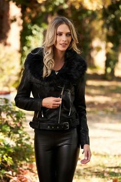 Fekete casual zsebes rövid dzseki műbőrből szőrme gallérral és béléssel