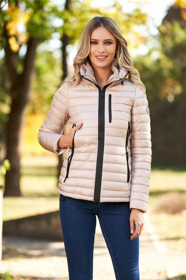 Krémszínű casual vízhatlan dzseki vékony bunda béléssel karcsusított szabással