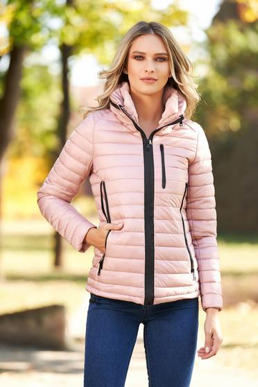Púder rózsaszínű casual vízhatlan dzseki vékony bunda bélés karcsusított szabású