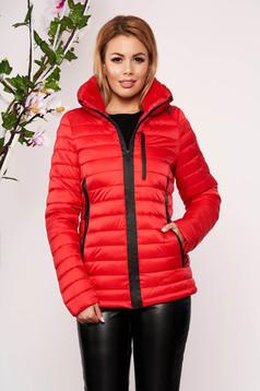 Piros casual vízhatlan dzseki vékony bunda bélés karcsusított szabású