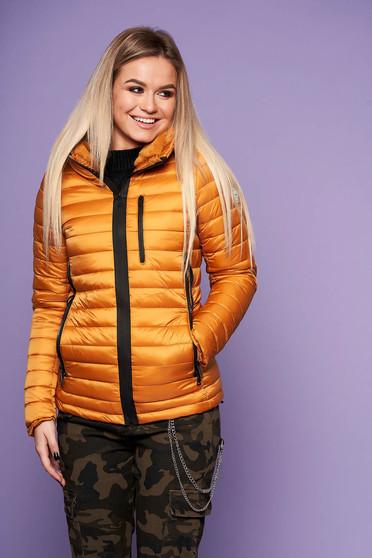 Mustársárga casual vízhatlan dzseki vékony bunda bélés karcsusított szabású