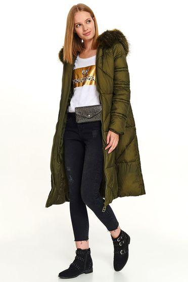 Zöld hosszú casual vízhatlan zsebes szőrmés kapucnis cipzárral zárható dzseki