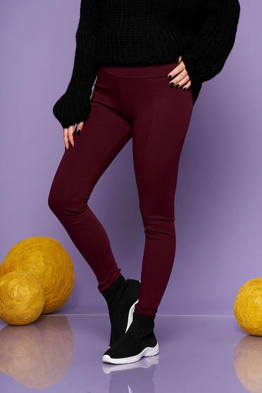 Burgundy középmagas derekú casual leggings rugalmas anyagból