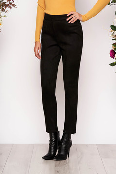 Fekete StarShinerS casual magas derekú nadrág bársonyos anyagból