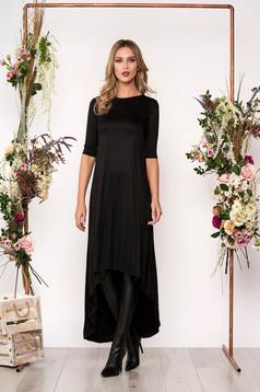 Fekete hétköznapi aszimetrikus ruha enyhén elasztikus pamutból háromnegyedes ujjakkal