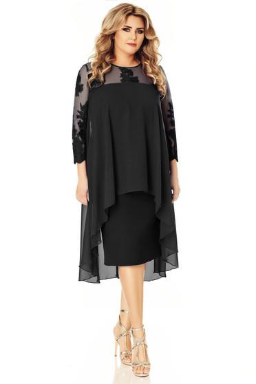 Fekete alkalmi ceruza ruha hímzett betétekkel