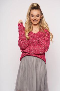 Pink pulóver casual hosszú ujjakkal v-dekoltázzsal kötött anyagból