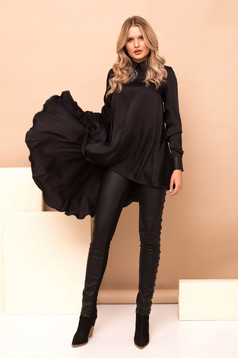 Fekete casual magas derekú leggings műbőrből fém díszítésekkel