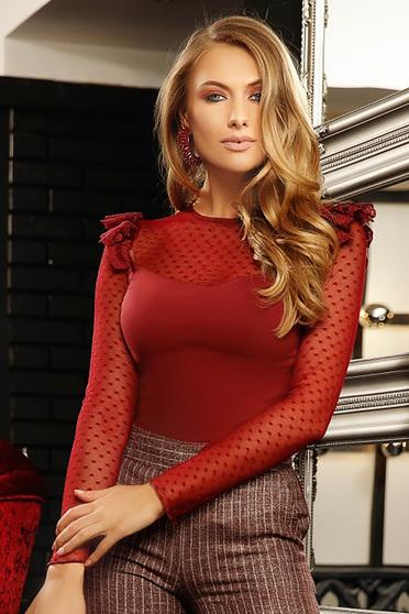 Burgundy szűk szabású női ing enyhén elasztikus pamutból csipke díszítéssel