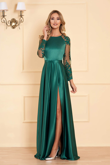 Zöld alkalmi deréktól bővülő szabású ruha szaténból csipke ujjakkal