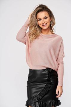 Világos rózsaszínű pulóver casual kötött bő szabású