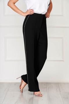 Fekete elegáns magas derekú nadrág strassz köves díszítéssel