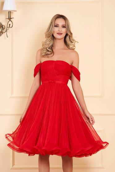 Piros Ana Radu alkalmi midi harang ruha tüllből váll nélküli fazon