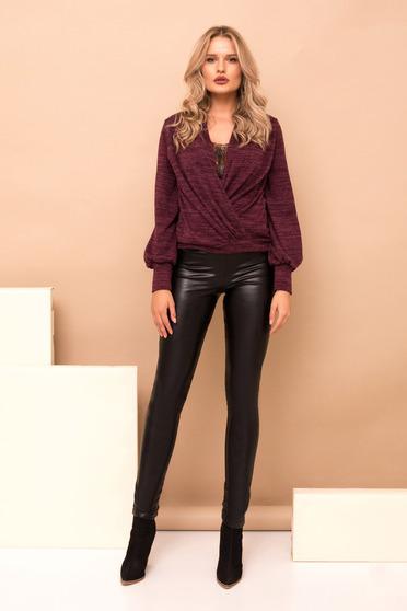 Fekete hosszú elegáns műbőr nadrág