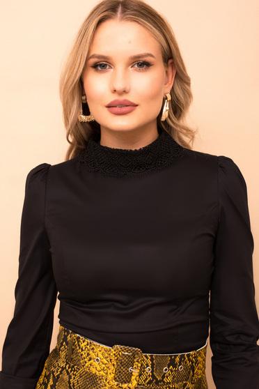 Fekete irodai szűk szabású női ing enyhén elasztikus pamutból hosszú ujjakkal