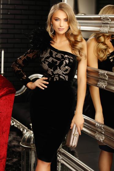 Fekete alkalmi szűk szabású midi ruha bársonyból flitteres díszítéssel