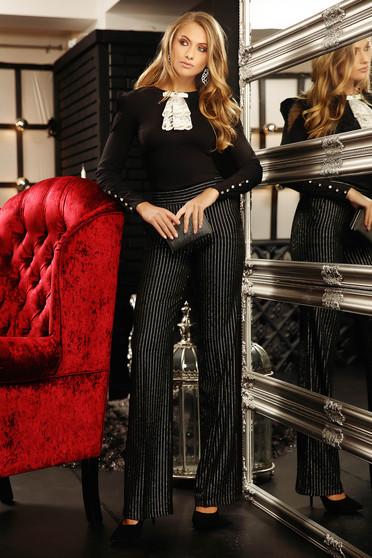 Fekete elegáns szűk szabású női blúz rugalmas pamutból masni díszítéssel